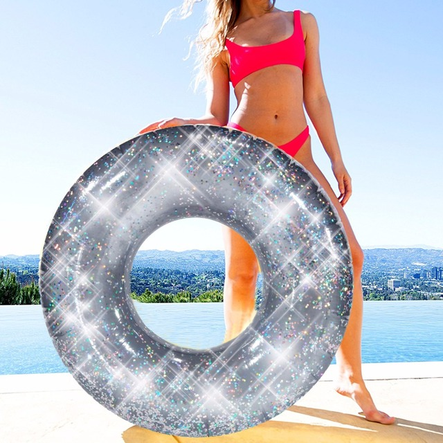 110CM Huge Inflatable Swimming Ring With Colorful Glitters Sequins Luxury Swimming Tube Silver Swim Donut  Water Inflatable Toys