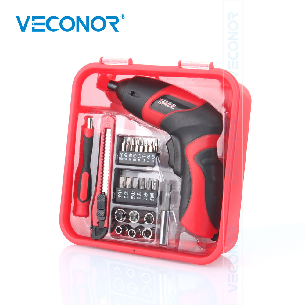 24pcs Household 4.8V Rechargeable Lithium Battery Cordless Screwdriver Electric Drill Power Tool