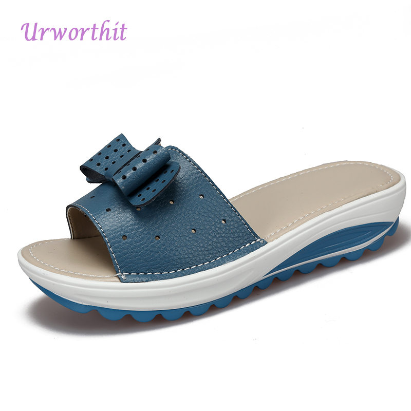 2018 Women Summer Platform Shales Mules Slides Female Wedges Fashion Genuine Leather Slippers Booties Shoes Lady Beach Sandals ...