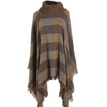 Ethnic Fusion Women Tartan Knitted =Poncho Knit Turtle Neck Sweater Coat Outwear
