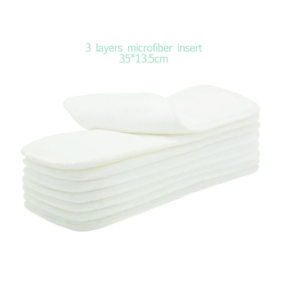 Elinfant 10pcs 3 layers microfiber cloth diaper nappy insert super absorbent 35x13.5cm fit baby cloth pocket diaper