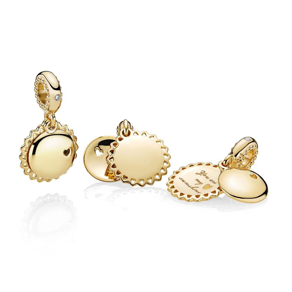 LJP New Arrvial You Are My Sunshine Dangle Charm, LJP Rose gold, Yellow Enamel & CZ fit Original Pandora Bracelet DIY Jewelry