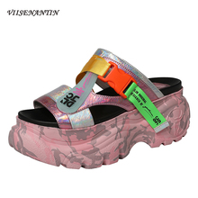 VIISENANTIN Camouflage colorful genuine leather lady slides muffin thick heel street fashion cool summer sapatos