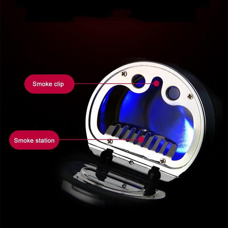 Компасы автомобильные пепельница с светодиодный свет дымчатые с указанием дым Клип В пепельница эффективное Retardant пепельница из нержавеющей стали