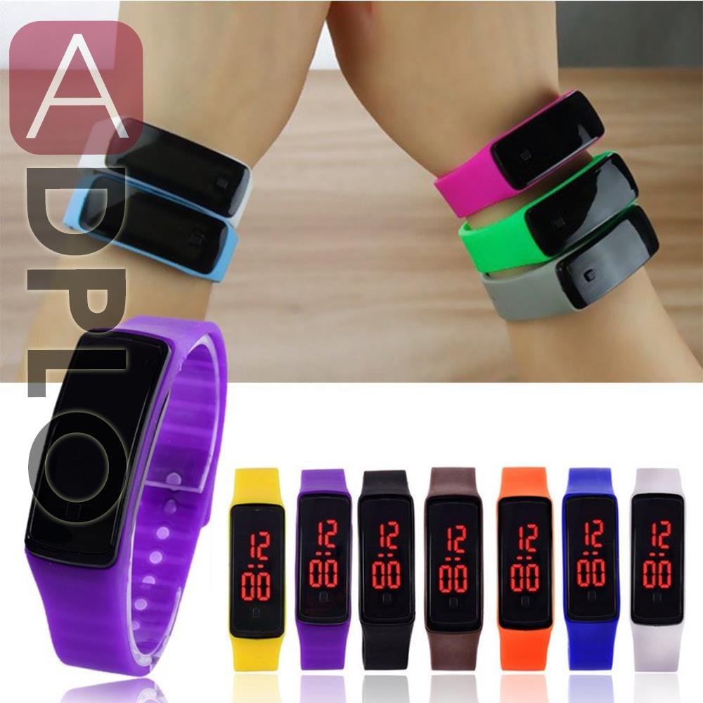Black White Blue Green Purple Rose Fashion Unisex Waterproof Rubber LED Watch Date Sports Bracelet Digital Wrist Watch