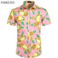 Pink Pineapple Print Hawaiian Shirt 2019 Brand New Short Sleeve Shirt Men Beach Casual Hawaii Shirt Male Camisa Social Masculina