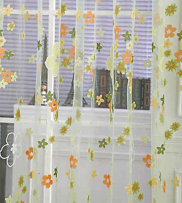 New  Floral Printed Tulle Voile Window Curtain Home Decor Wear Rod Drape Panel Sheer Scarf Valances Green Pink Wholesale