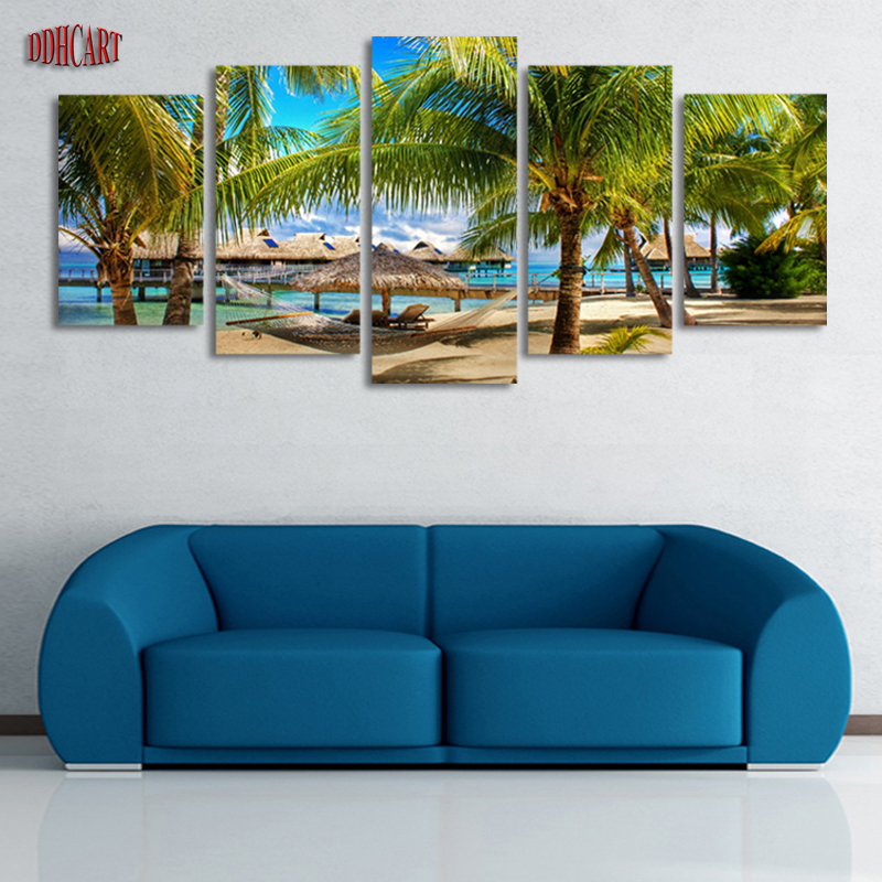5 Pcs(No Frame) Coconut Trees Beach Painting Canvas Wall Art Picture Home Decoration Living Room Canvas Print Modern Painting