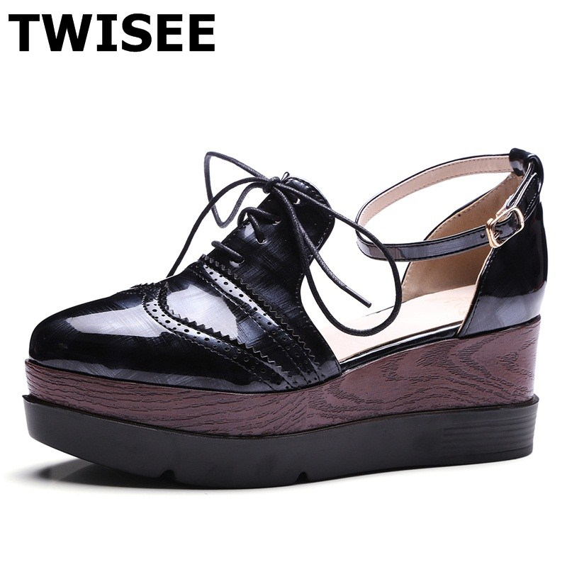 TWISEE Wedges Platform pu leather Comfortable woman Casual shoes Patent Leather summer sandals ladies women shoes sandals women sandals 2017 summer shoes woman wedges fashion gladiator platform female slides ladies casual shoes flat comfortable