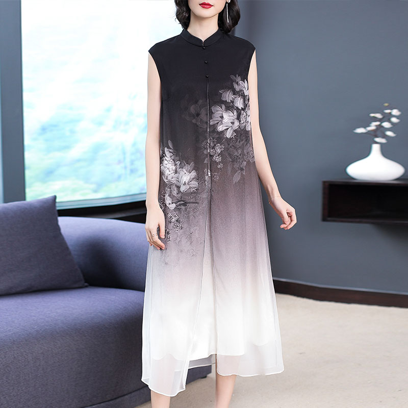 Silk Dress for Women Summer Sleeveless Long Maxi Elegant Vintage Print Floral Chinese Style Retro Black Woman Party Night Clothe