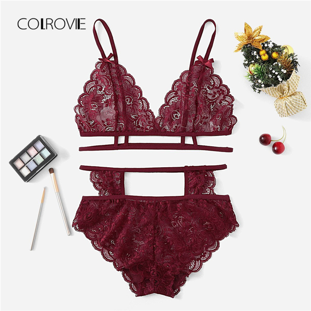 39cab354572 COLROVIE Burgundy Solid Cut Out Scalloped Sexy Floral Lingerie Set 2018 Women  Bra   Brief Sets