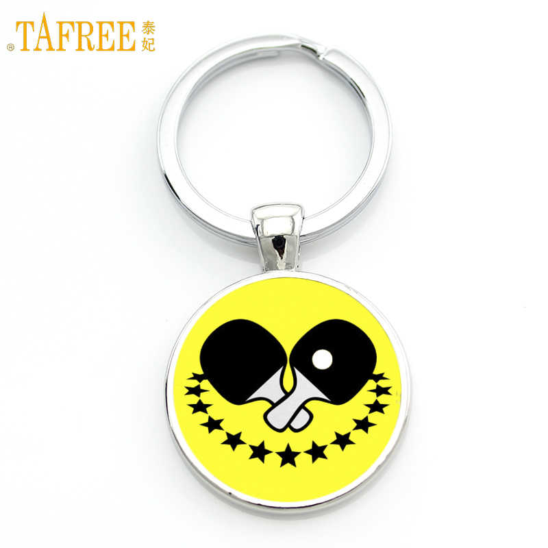 TAFREE Brand Table Tennis Pingpong art keychain vintage popular casual athletic sports jewelry women men key chain ring SP314