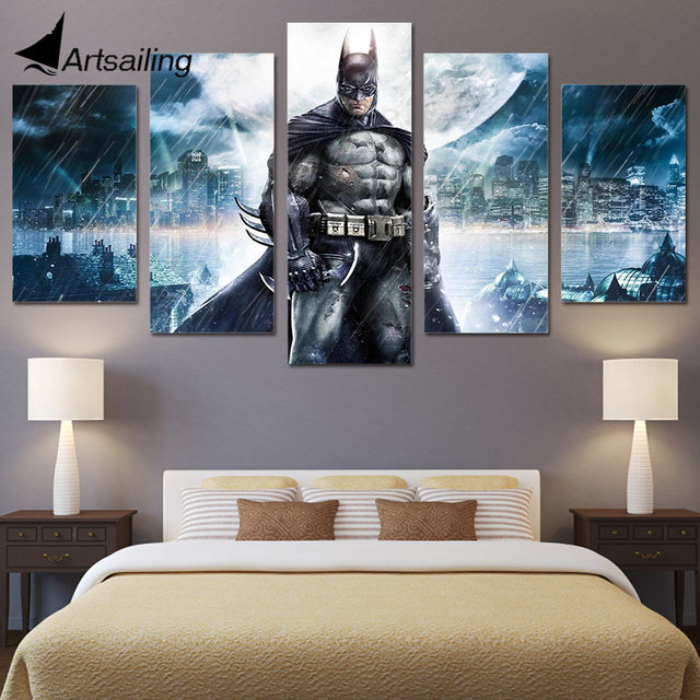 5 stuks gedrukt film batman schilderijen muur canvas modulaire woonkamer slaapkamer poster foto thuis hout decoratie