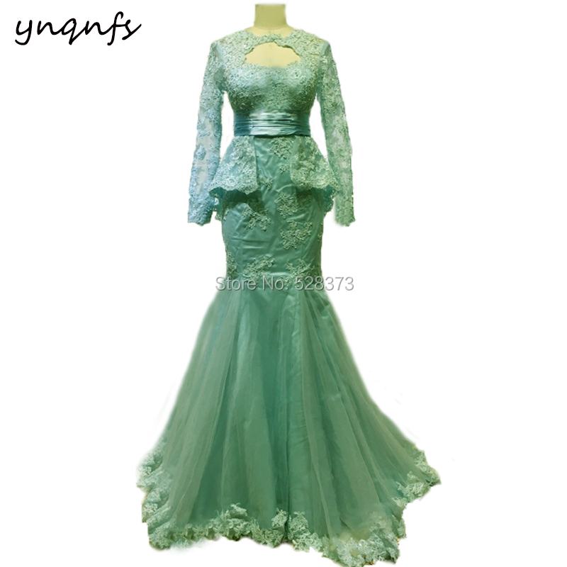 YNQNFS 2018 Mother Of The Bride Dresses Mermaid Vestido Formal Dresses Party Guest Wear Elegant Long Sleeves Aqua Green MD344