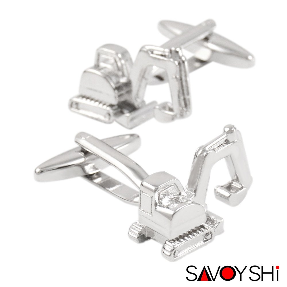 SAVOYSHI Novelty Silver Cufflinks For Mens Shirt Cuff Buttons High Quality 3D Excavator Cuff Links Gift Free Custom Name
