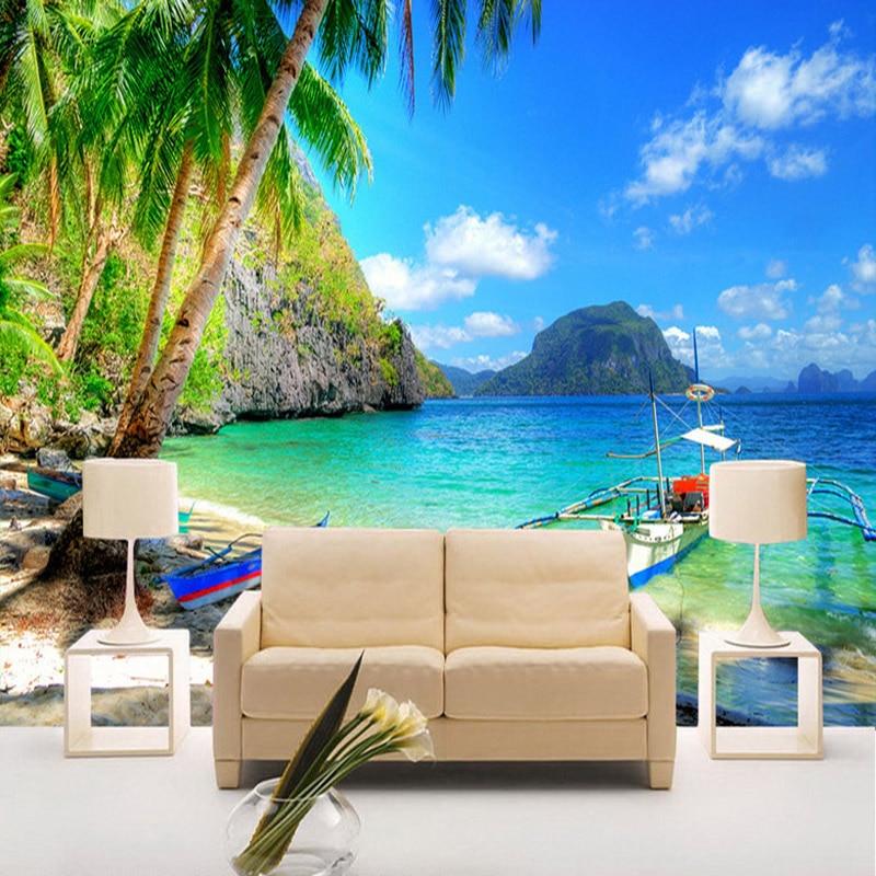 Papel de parede 3d beautiful seaside landscape nature for Nature wallpaper for living room