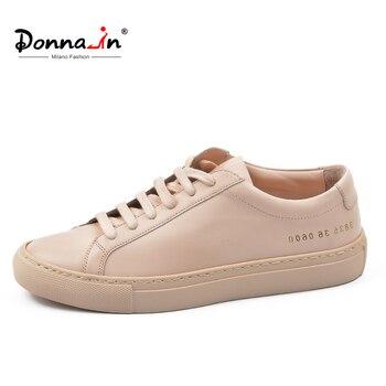 Donna-in/женские сникерсы из натуральной кожи на плоской подошве, на низком каблуке, на платформе, женская модная дышащая обувь на шнуровке, жен...