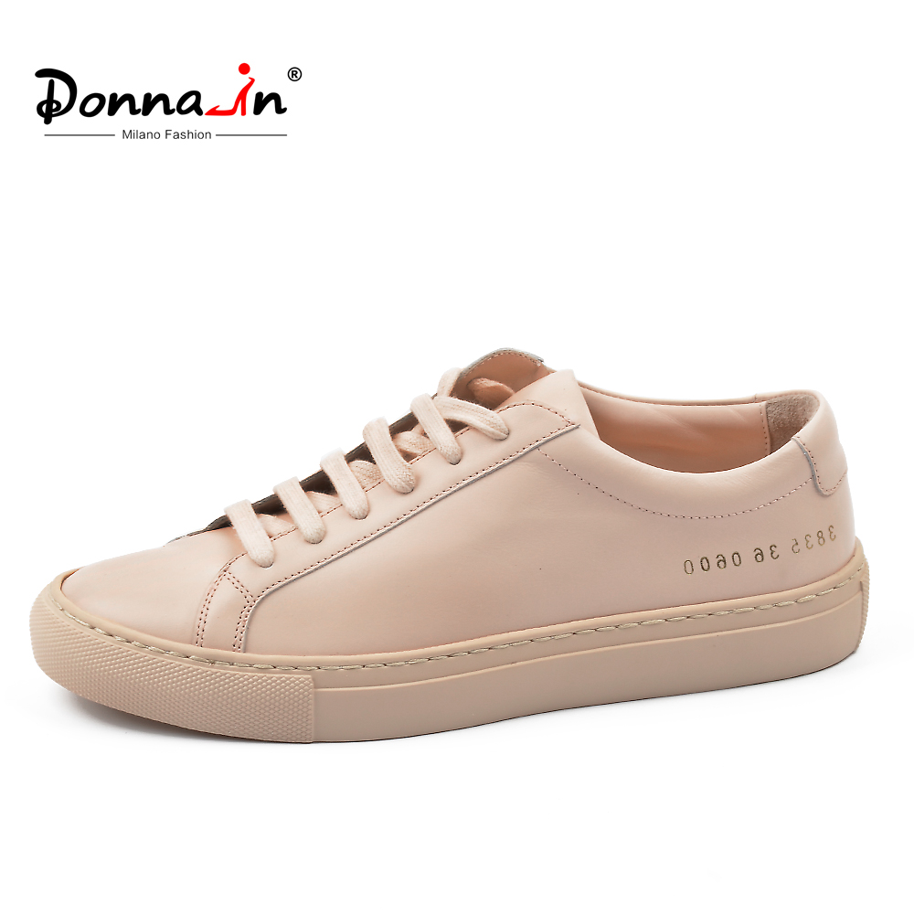 Donna-in Sneakers Women Genuine Leather Flat Low Heel Platform Ladies Lace Up Fashion Breathable Shoes Women 2020 White Nude