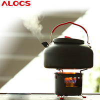 Alocs Camping Water Tea Kettle Picnic Pot Alcohol Stove with Bracket Outdoor Travel Cookware Hiking Equipment Set CW K04 PRO