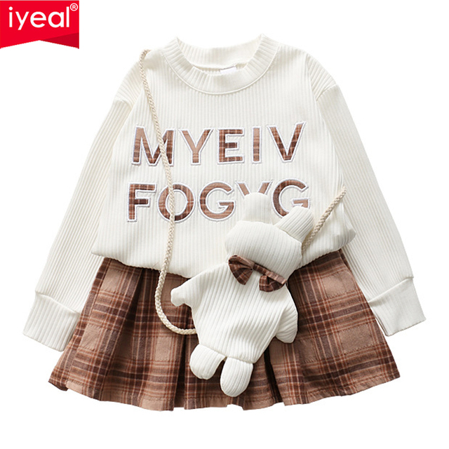 IYEAL Toddler Kids Girl Clothes Set Spring Long Sleeve Letter Tops T-shirt + Plaid Skirt +Bag 3PCS Outfit Children Baby Suit
