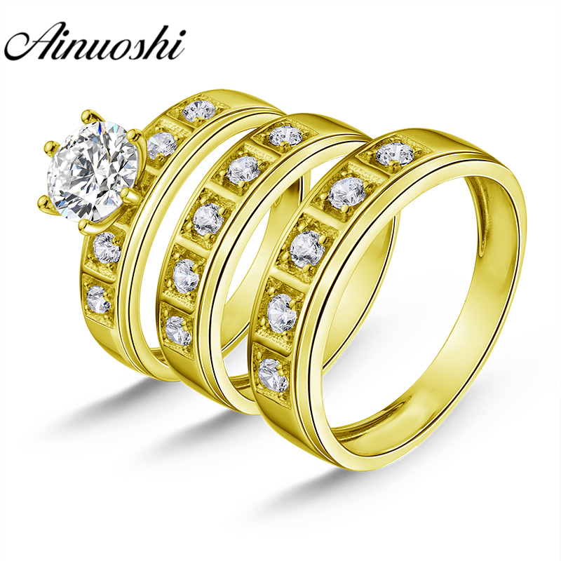 AINUOSHI 7.6g Real Gold TRIO Rings Bridal Ring Set Male Band Lover Engagement Jewelry 10k Yellow Gold Couple Wedding Rings SetAINUOSHI 7.6g Real Gold TRIO Rings Bridal Ring Set Male Band Lover Engagement Jewelry 10k Yellow Gold Couple Wedding Rings Set