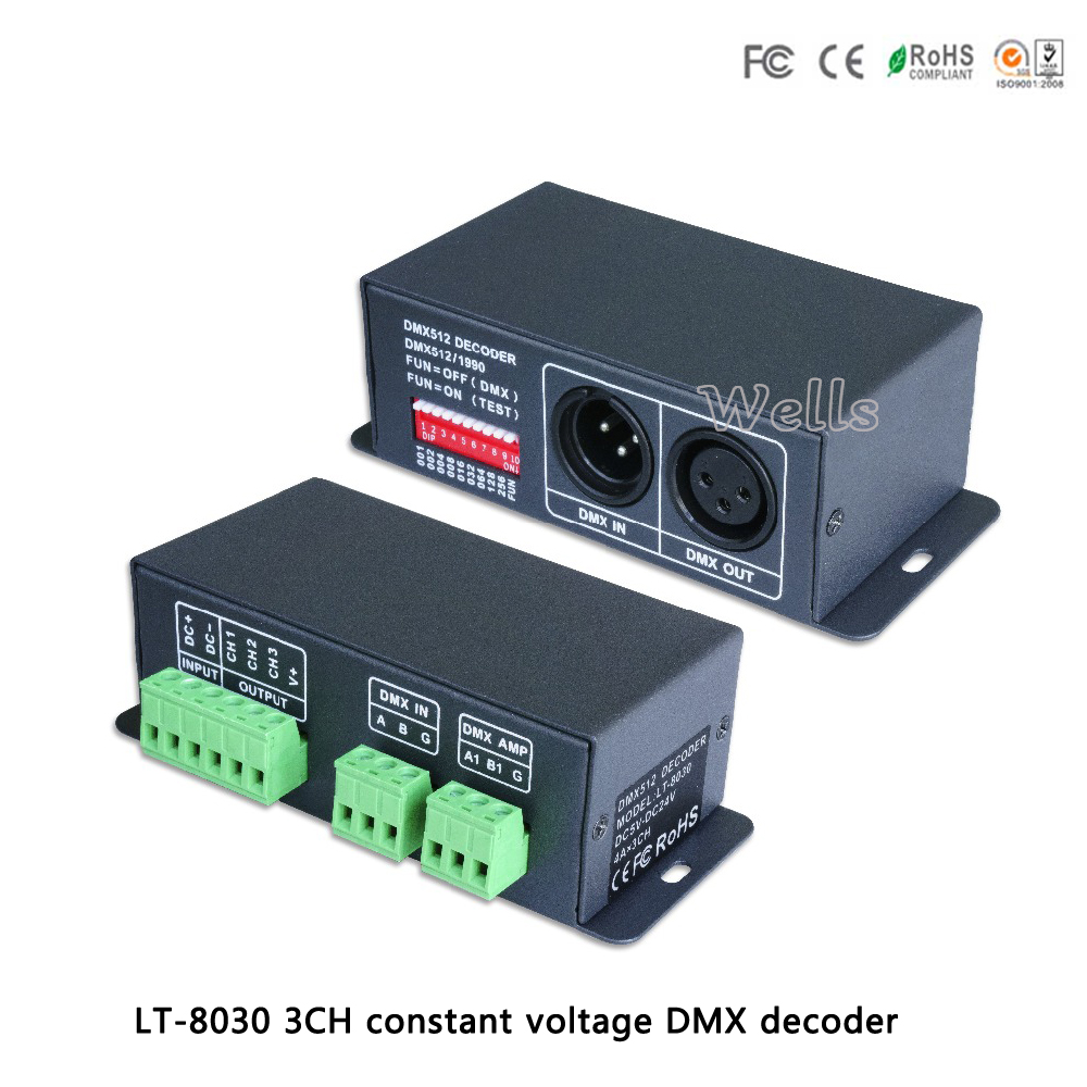 LTECH LT-8030 LED constant voltage DMX-PWM Decoder DC5-24V input;4A*3 channel output led comtroller for led lamps lt 810 10a led constant voltage dmx pwm decoder 1ch dimming dedicated 10a 1channel output