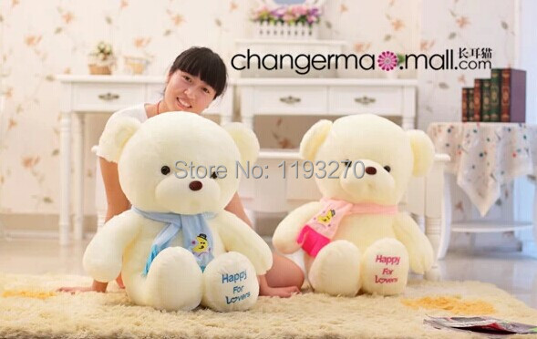 ФОТО stuffed animal 80 cm scarf  bear plush toy soft  happy for lovers teddy bear doll gift w1611