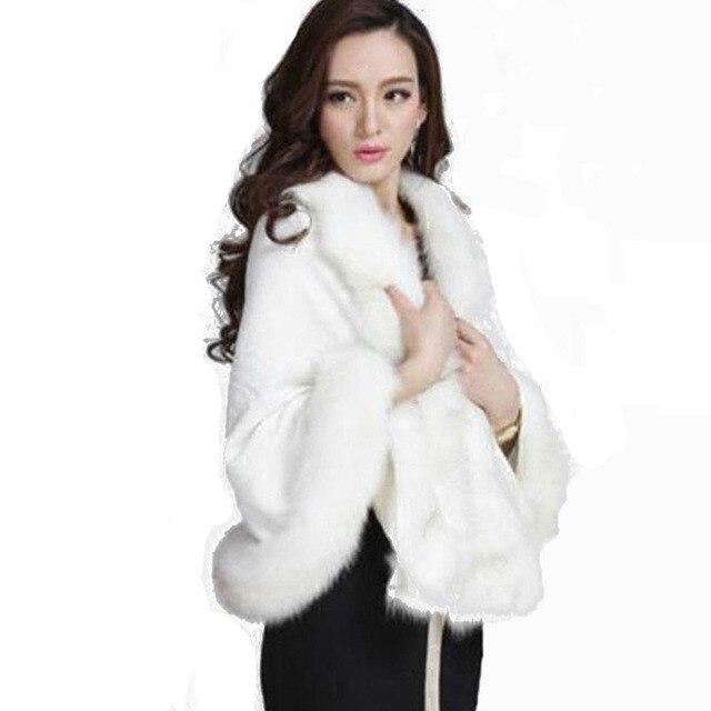 45e040f370468 Winter Warm Knitting wool cloak faux fox fur scarf Cashmere Shawl Pashmina  large Wraps Imitation fox