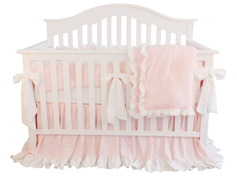 3 Pcs Blush Coral Pink Ruffle Crib Bedding Set Baby Girl Bedding Blanket Nursery Crib Skirt Crib Bedding Sheet(No Bumper)