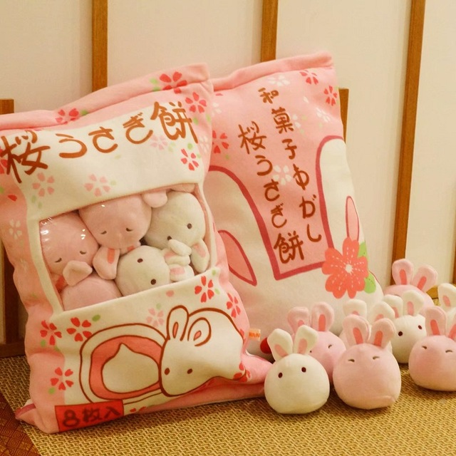Candice guo plush toy Japan style steamed bun mini sweet cherry blossom rabbit ball storage package pillow birthday gift 8pc/bag недорого