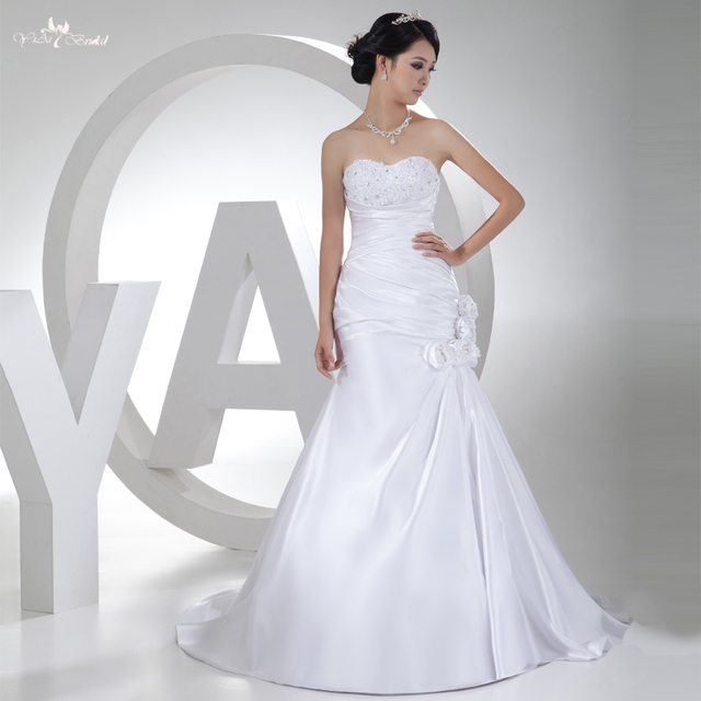 rsw300 encaje satinado vestido de novia corte sirena verdadera de la