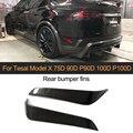 Обшивка бампера заднего вида автомобиля из углеродного волокна  обшивка крыльев на вентиляционное отверстие для Tesla Model X 2016 - 2018 Sport utity 4 стик...