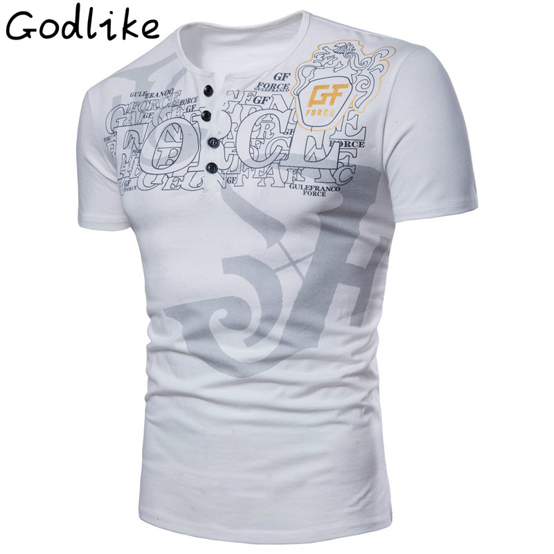 GODLIKE The mans new character electronic letter printed button T-shirt, fashion casual European short - sleeve T-shirt.