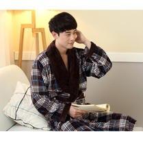 L XL XXL Plus size Winter new Thicken warm men's bathrobe dressing gown men robes bath 2 styles flannel plaid sleepwear Q1456
