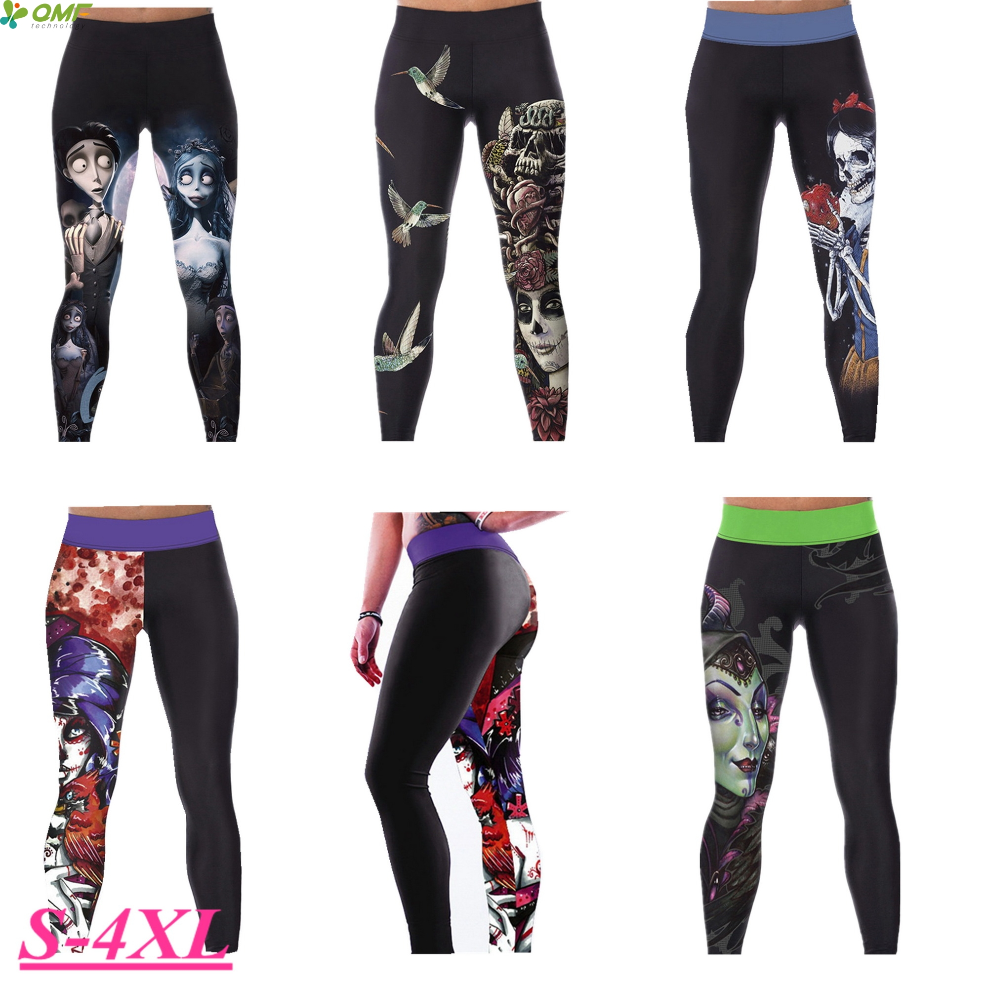 2e401a1bdf Evil Queen Women's Compression Yoga Pants Corpse Bride Running Leggings  Fitness Gym Tights Sugar Skull Sport