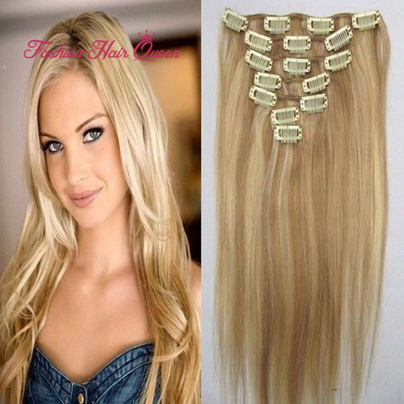 #18/613 Brown Blonde Mix Clip In 100% Brazilian Virgin Remy Real Human Hair Extensions 7pcs 15inch 18inch 20 22 38cm-55cm