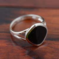V YA Black Stone Agate Rings 925 Silver New Fashion Square 100 S925 Solid Sterling Silver