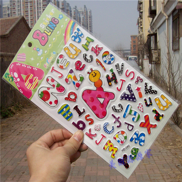 letter alphabet bling stickers 3d bubble stickers scrapbooking for kids diary notebook label decoration toy 145
