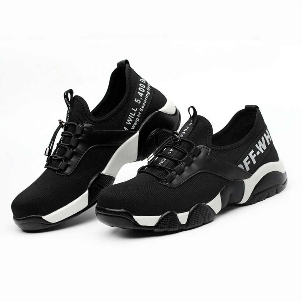794f1be8030 Men's Safety Shoes for Men Breathable Lightweight Footwear steel toe Boots  Indestructible Rubber Shoes Woman working Sneakers