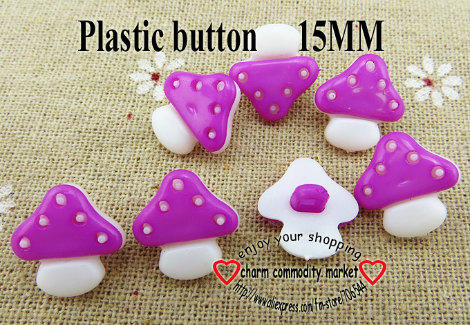 100PCS 15MM Mushroom purple brown Dyed Plastic buttons coat boots sewing clothes accessories P-046-8
