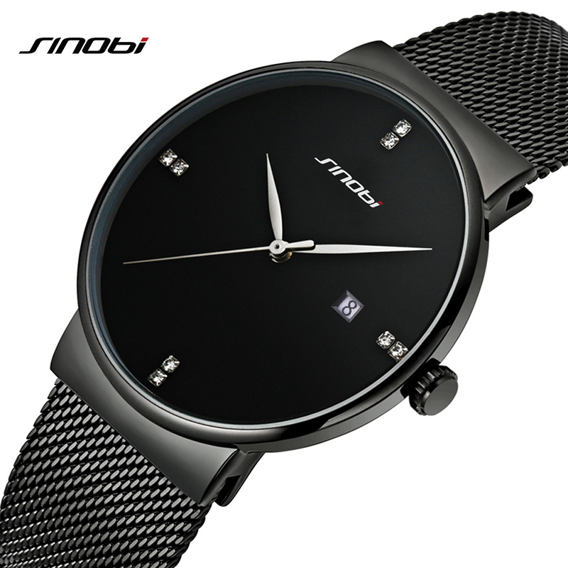 SINOBI Men Quartz Watch Luxury Top Brand Fashion Mesh Delicate Ultra-thin Business Watch Full Stainless Steel Male Wrist Watches