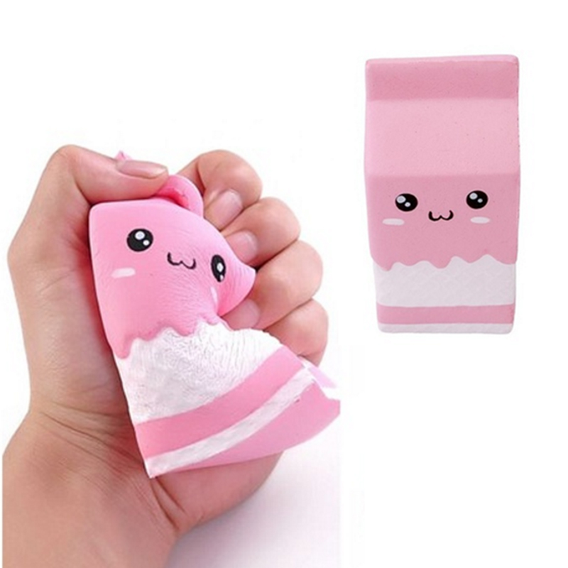 HOT SALE Squishy Slow Rising Milk Box, Foci Cozi Kawaii Squishy Charms, Hand Pillow Toy, Stress Relief Toy Pink