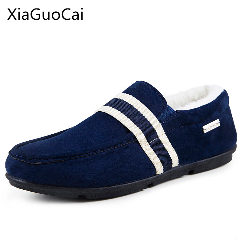 Slip-on Winter Warm Men Loafers Moccasins Rubber Men Winter Casual Shoes with Fur Brand Name Male Sneakers Z434 35