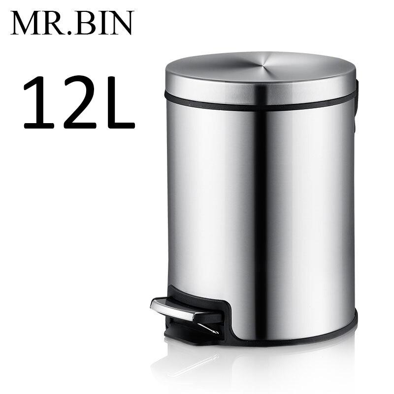 MR. BIN Макарон плюс мусорный бак с 5L/8L/12L ёмкость красочные педаль отходов Bin металлическая мусорная корзина для дома и кухня - Цвет: 12L Drawing Steel