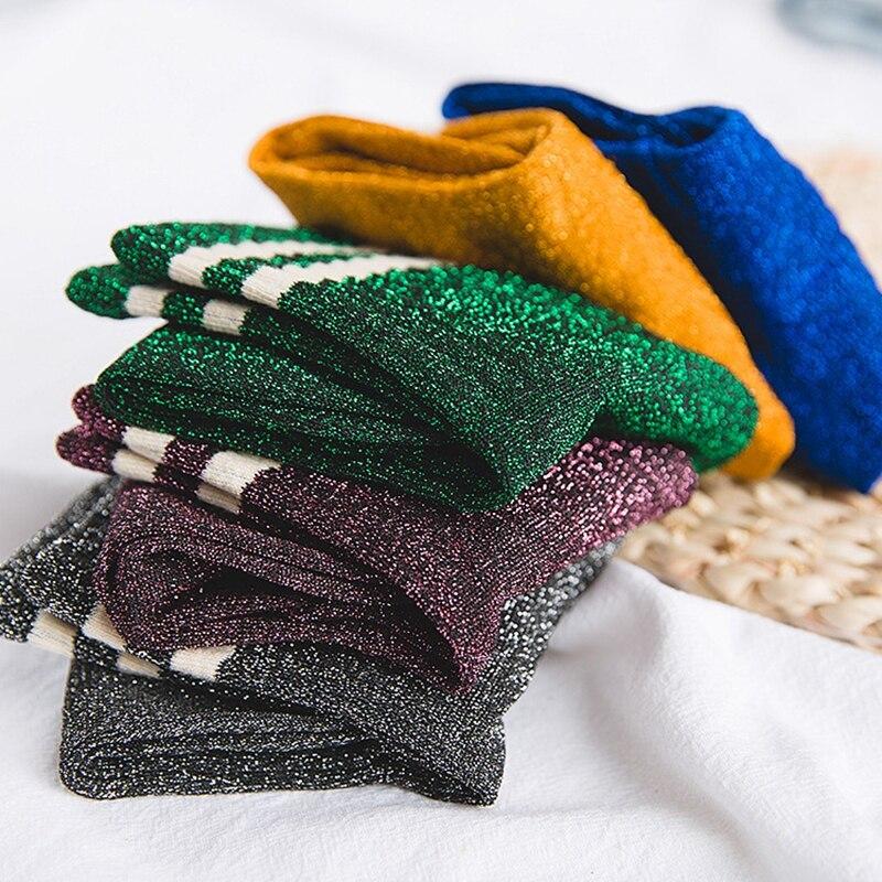 High Street Fashion Shiny Glitter Striped Women Socks New Bling Bling Shining Socks Trendy Rock Roll Sparkled Bright Color Socks