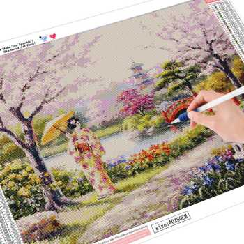 HUACAN Diamond Embroidery Landscape DIY Diamond Mosaic Full Square Diamond Painting Japanese Girl Home Picture