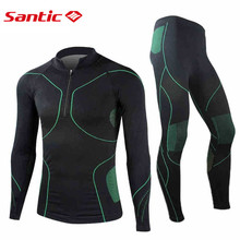 SANTIC Permeability Hollow Men's Cycling Running Sports Underwear Suits Long Sleeve Underclothes Hot Dry technology MN12008