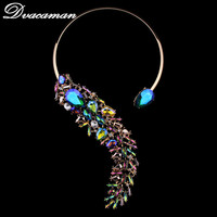Dvacaman New Arrival Fashion Women Choker Necklace Color Crystal Vintage Maxi Charms Collar Accessories Statement Necklace