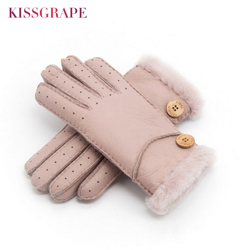 Brand New Women Winter Warm Real Læder Handsker Ladies Wool Mittens Handsker til kvinder Sheep Fur Gloves