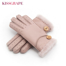 Winter Warm Fashion Heavy Type Women Gloves Real Leather Wool Fur Gloves Lovely Female Sheepskin Leather Fur Gloves Mittens